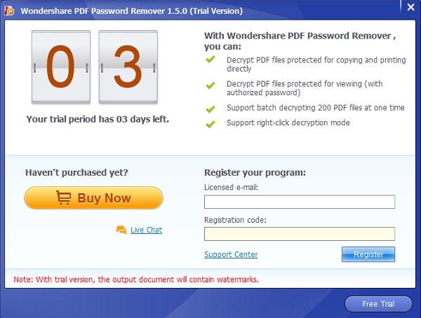 Wondershare PDF Password Remover Screenshot