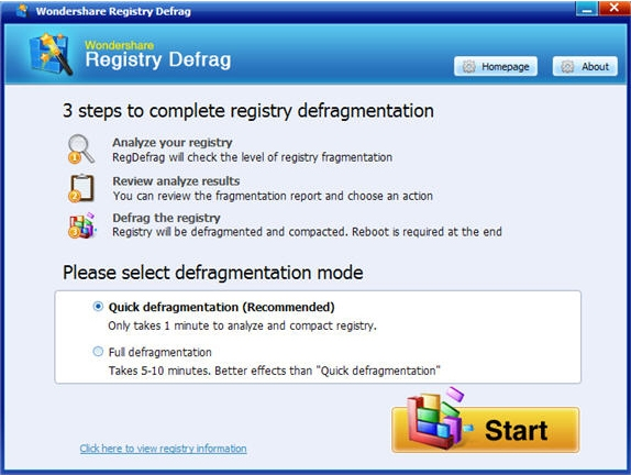 Registry Cleaner Software, Wondershare Registry Optimizer Screenshot