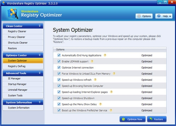 Wondershare Registry Optimizer, Software Utilities Screenshot