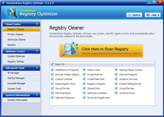 Wondershare Registry Optimizer Screenshot