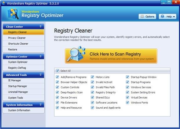 Wondershare Registry Optimizer Screenshot
