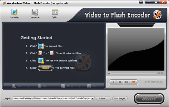 Wondershare Video to Flash Encoder Screenshot