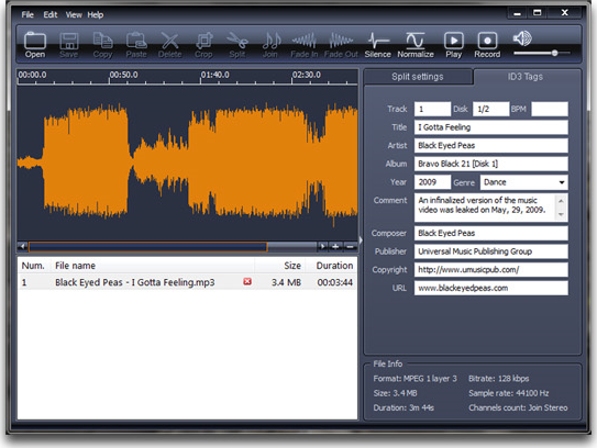 X-Wave MP3 Cutter Joiner 3.0, Recording Studio Software Screenshot