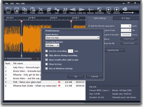 X-Wave MP3 Cutter Joiner 3.0, Audio Software Screenshot