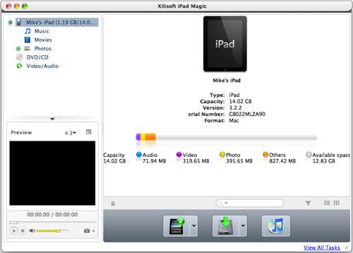 iPod iPhone iTunes Software, Xilisoft iPad Magic Platinum Screenshot