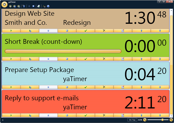 yaTimer, Productivity Software, Time Tracking Software Screenshot