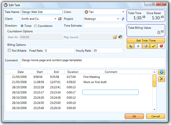 yaTimer, Productivity Software Screenshot