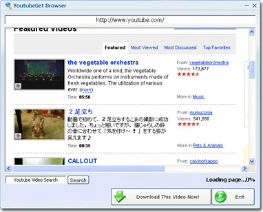 YoutubeGet, YouTube Downloader Software Screenshot