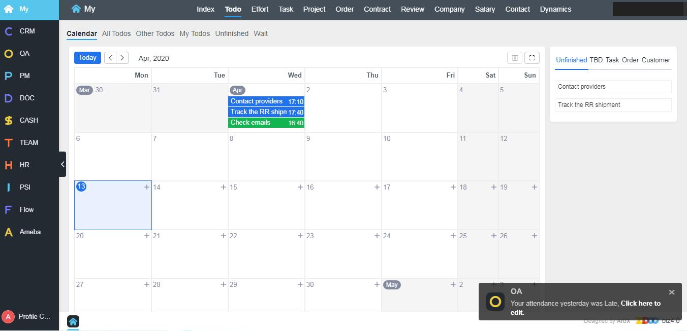 Zdoo, Business Management Software Screenshot