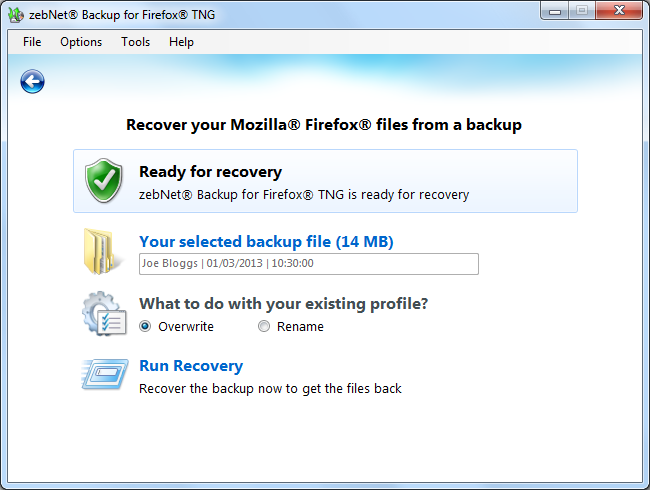 zebNet Backup for Firefox TNG, Backup and Restore Software Screenshot