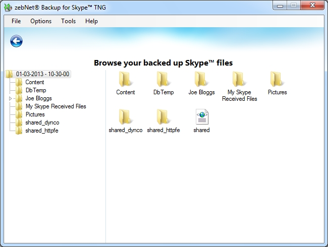 zebNet Backup for Skype TNG, Security Software Screenshot