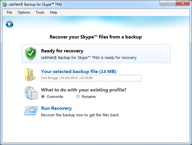 zebNet Backup for Skype TNG, Backup and Restore Software Screenshot