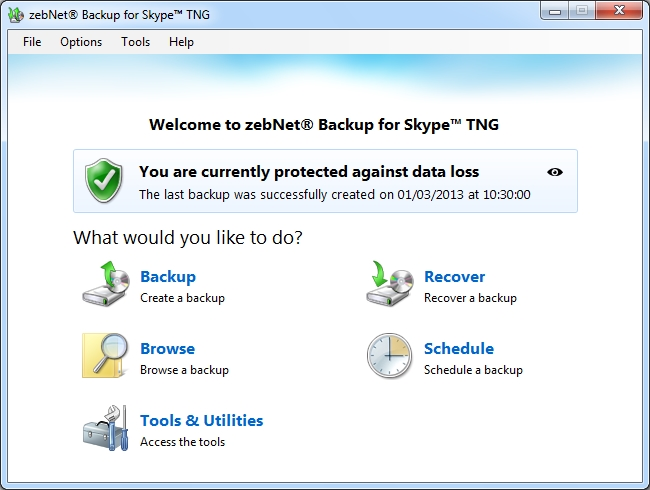 zebNet Backup for Skype TNG Screenshot