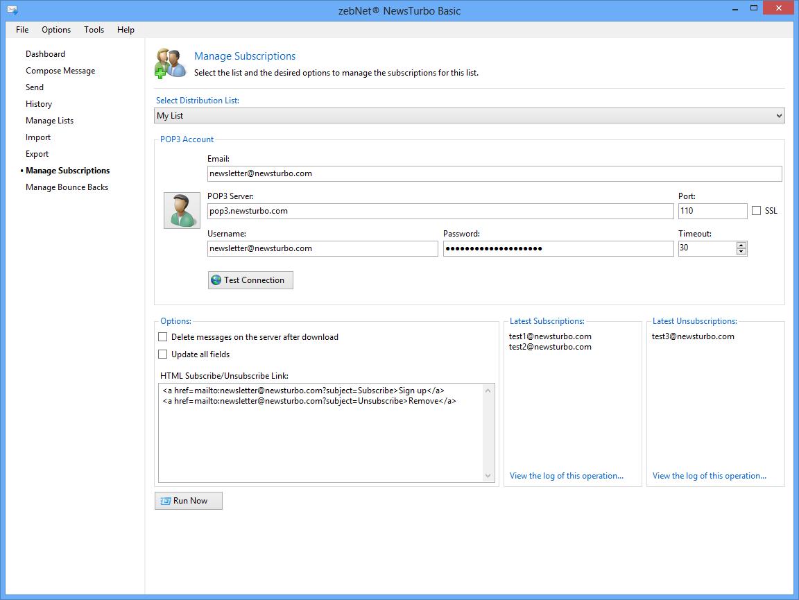 zebNet NewsTurbo Basic, Internet Software, Bulk Mailer Software Screenshot