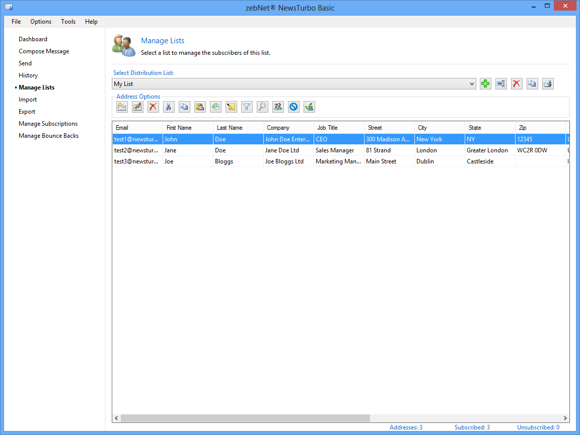 Bulk Mailer Software, zebNet NewsTurbo Basic Screenshot