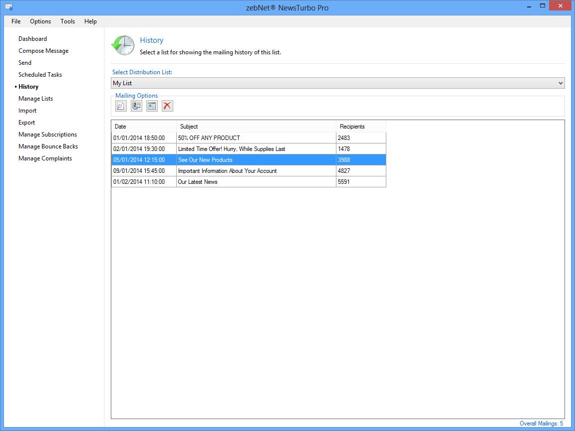 Bulk Mailer Software, zebNet NewsTurbo Pro Screenshot