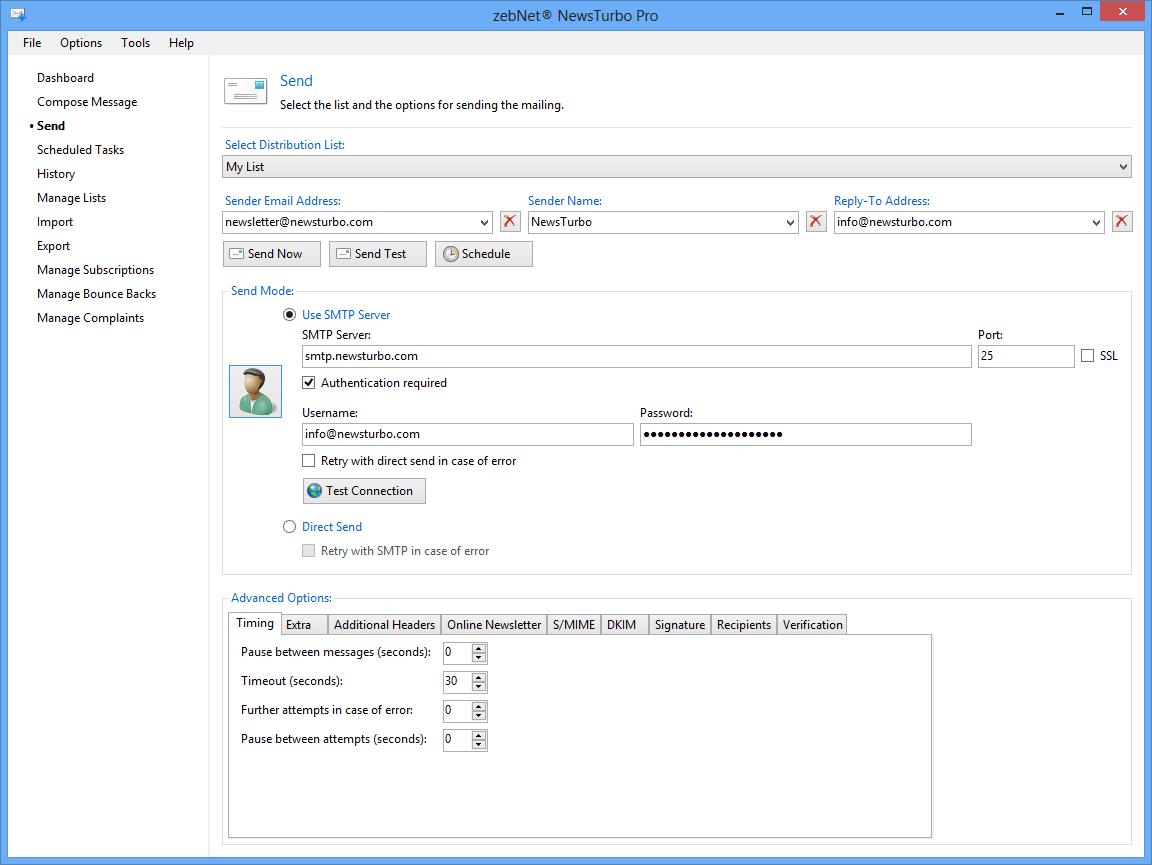 zebNet NewsTurbo Pro, Bulk Mailer Software Screenshot