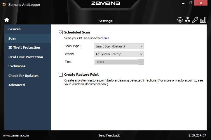 Access Restriction Software, Zemana AntiLogger Screenshot
