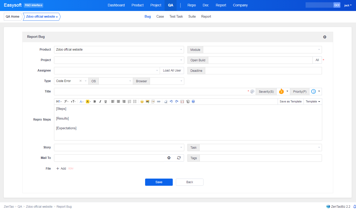 Project Management Software Screenshot