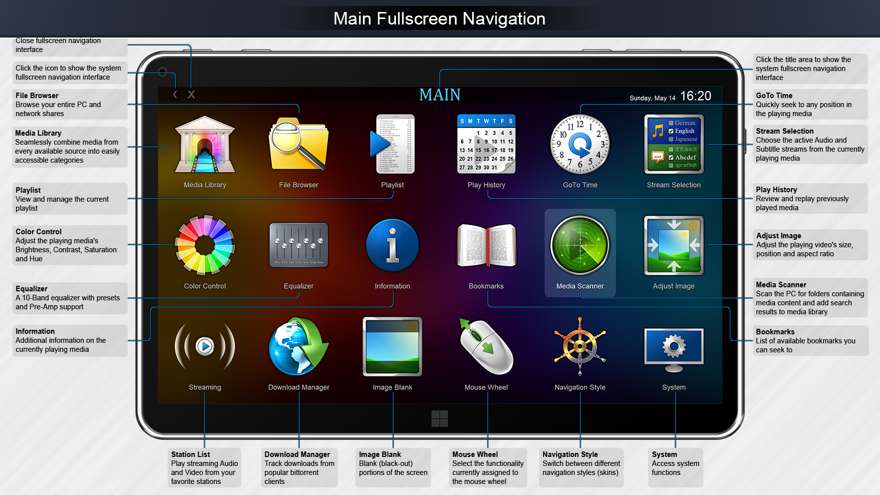 Zoom Player MAX, Video Software Screenshot